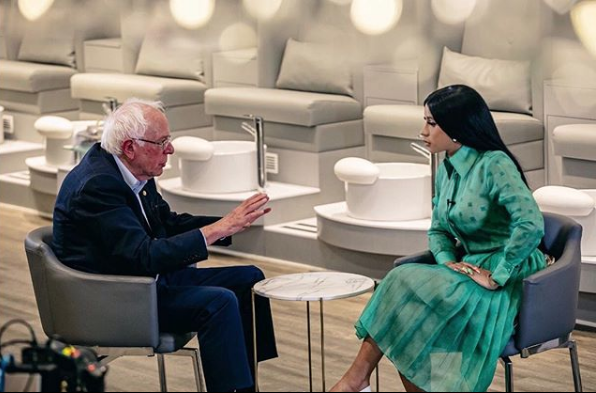 Cardi B & Bernie Sanders Film Presidential Campaign Video At Locally Owned Black Nail Salon