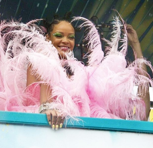 Rihanna Dazzles Cropover Festival In Pink Feathers!