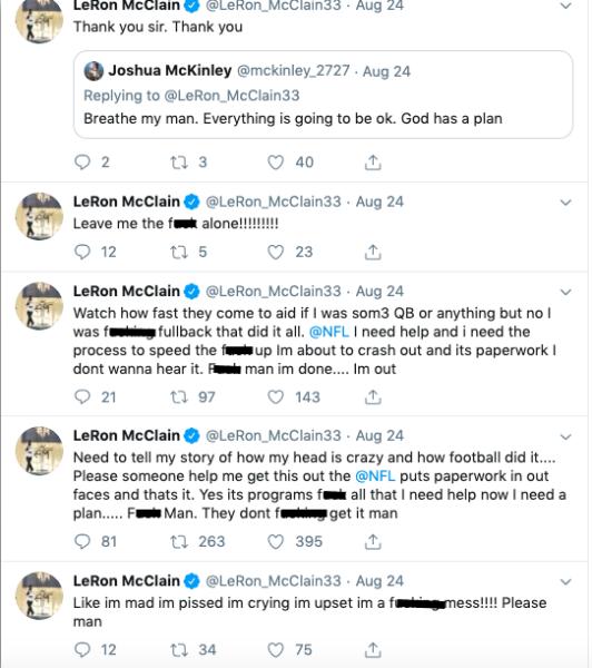 Former NFL Fullback LeRon McClain Begs NFL For Help 'My