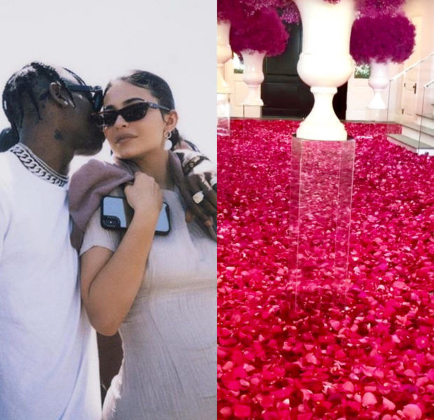 Travis Scott Covers Kylie Jenner's Home With Red Roses