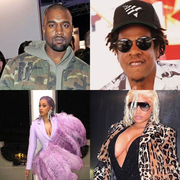 Kanye Tops List Of Highest Paid Hip-Hop Acts For 1st Time, Jay-Z Is #2 + Cardi B & Nicki Minaj Are The Only Women On The List