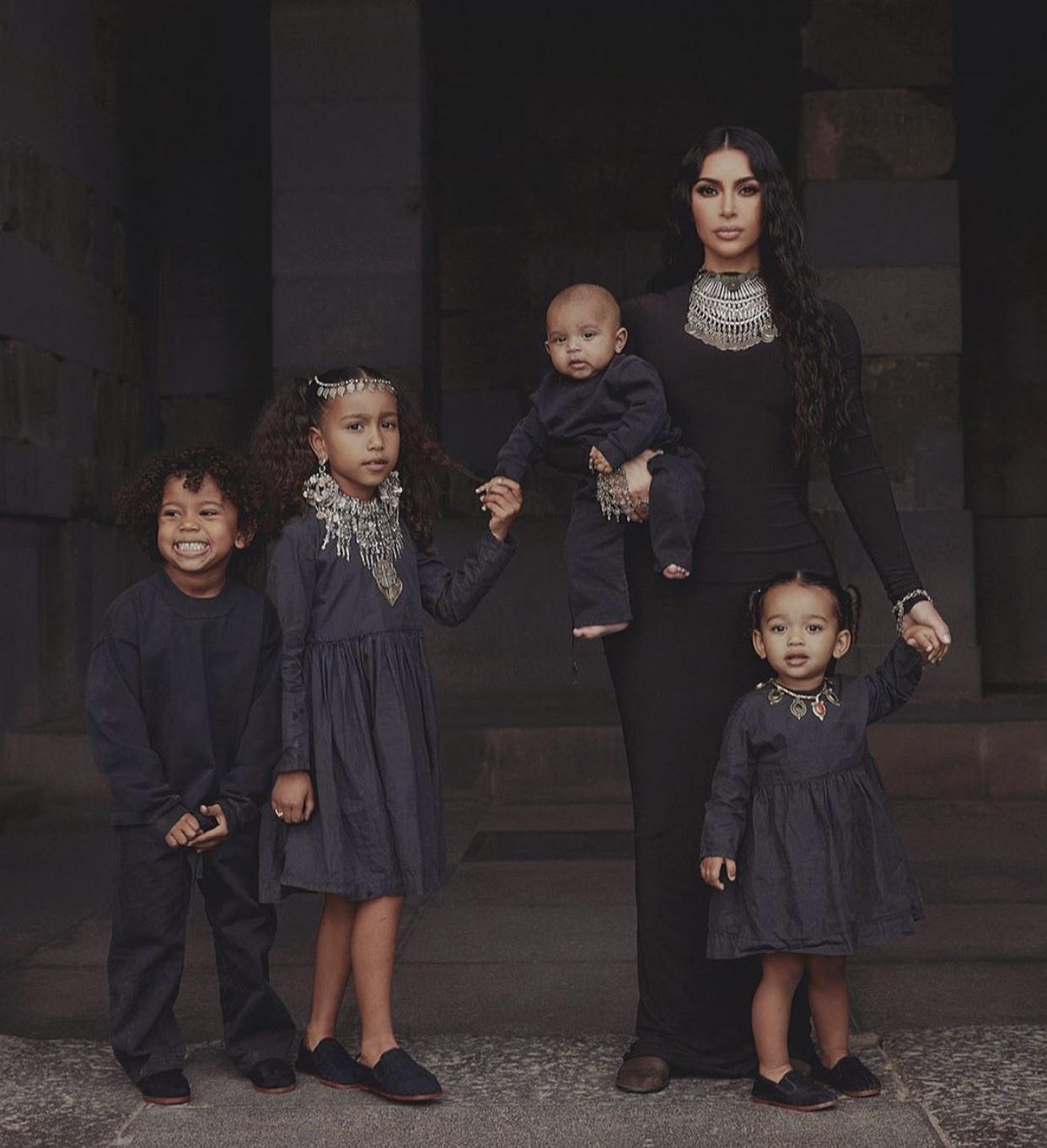 Kim Kardashian & Her Four Children Wear All Black, While ...