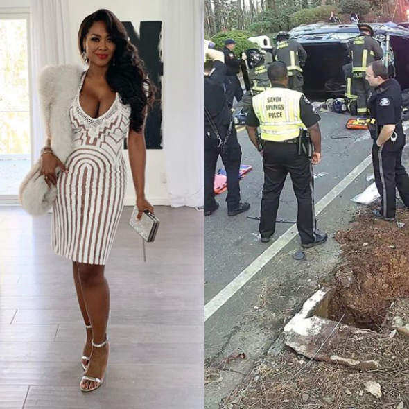 Kenya Moore Shares Footage Of Car Dangerously Crashing Into Her Mailbox: Thank You God For Your Protection! [WATCH]