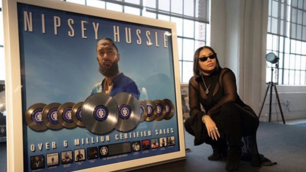 Lauren London Celebrates Nipsey Hussle's Certified Plaques [Photos]
