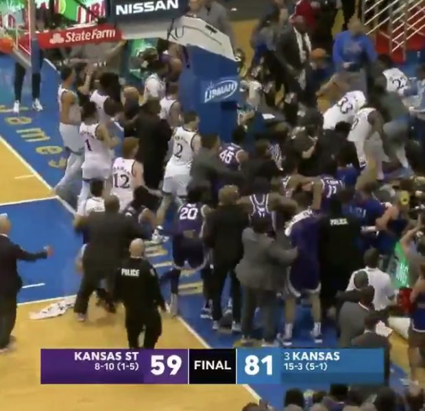 Kansas Vs. Kansas State On Court Brawl Turns Ugly, Player Suspended After Attempting To Throw Chair [VIDEO]