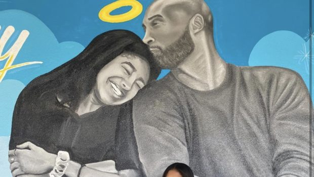Vanessa Bryant and Daughters Pay Tribute w/ Photo in Front of Mural of Kobe Bryant and Daughter Gianna