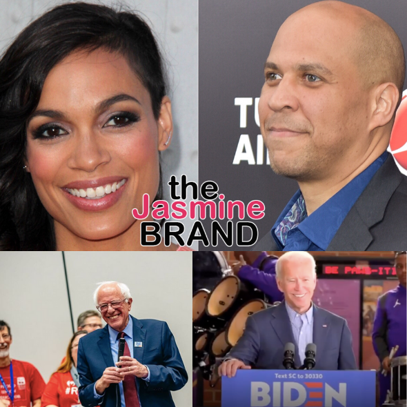 Cory Booker Backs Joe Biden For President, While His Girlfriend Rosario Dawson Supports Bernie Sanders w/ Cryptic Message