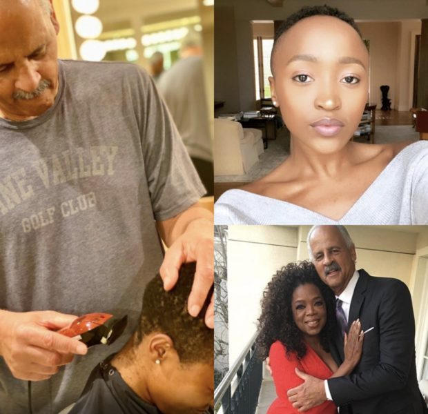 Oprah Records Stedman Using His Clippers For The First Time, Gives Journalist Thando Dlomo Beautiful Mohawk!