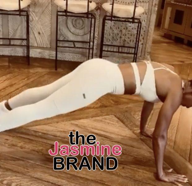 Jada Pinkett Smith Uses Fluffy Socks In Her Latest Floor Workout [VIDEO]