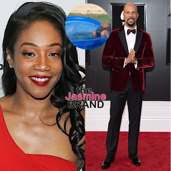 Tiffany Haddish Seemingly Jokes About Marrying Rumored Boyfriend Common While Swimming In A Kiddie Pool [WATCH]