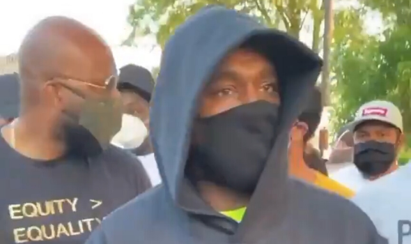 Kanye West Spotted Protesting In Chicago [VIDEO]