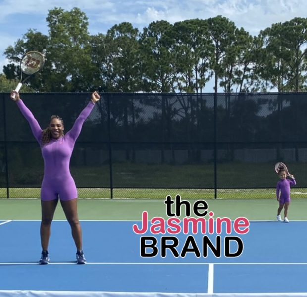 Serena Williams & Daughter Olympia Hit The Tennis Court In Matching Jumpsuits