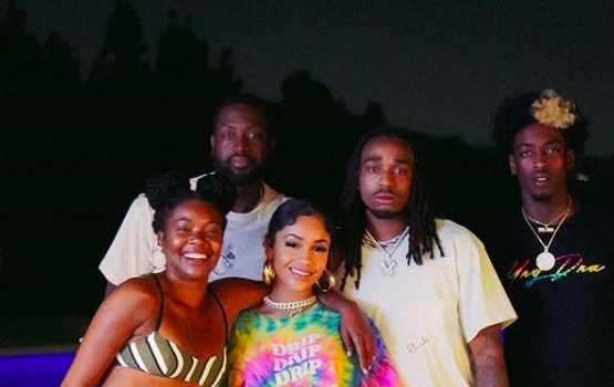 Gabrielle Union Hangs Out Poolside W/ Cousin Saweetie + Quavo, Dwyane Wade & Zaire Wade Join
