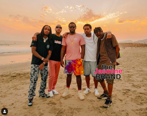 Diddy Posts Up With Quavo, Swizz Beatz, Nas & Travis Scott At The Beach [PHOTOS]