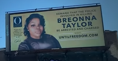 Breonna Taylor Billboard Vandalized With Red Paint Resembling Bullet Wound