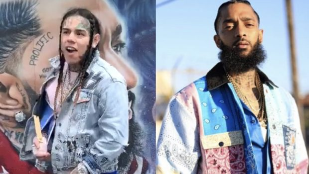 Tekashi 6ix9ine Poses In Front Of Nipsey Hussle Mural Weeks After He Seemingly Dissed Him