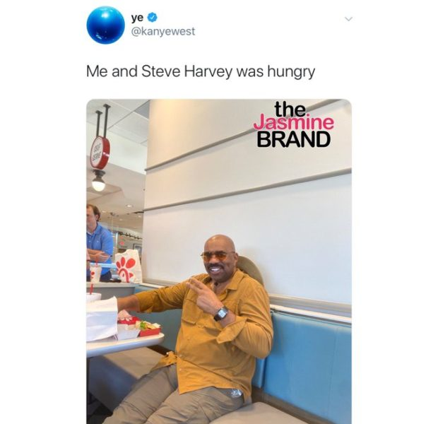 Kanye West Has Lunch With Steve Harvey & Rick Fox [Photo]