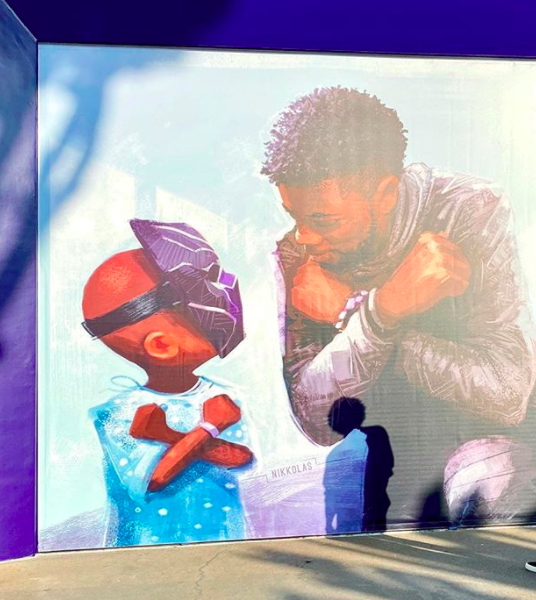 'Black Panther' Mural Featuring Chadwick Boseman Unveiled At Downtown Disney
