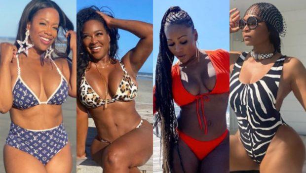 'Real Housewives Of Atlanta' Ladies Kandi Burruss, Kenya Moore, Cynthia Bailey & Marlo Hampton Hit The Beach During Cast Trip [PHOTOS]