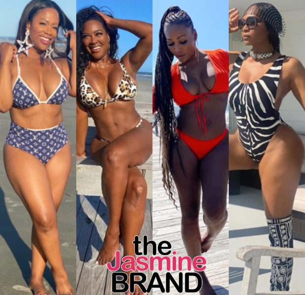 'Real Housewives Of Atlanta' Ladies Kandi Burruss, Kenya Moore, Cynthia Bailey & Marlo Hampton Hit The Beach During Cast Trip [PHOTOS]