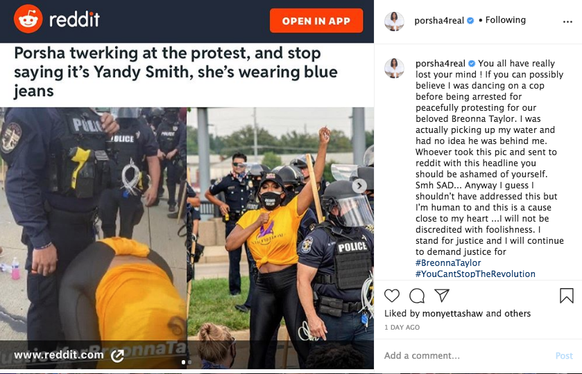 Porsha Williams Accused Of Twerking In Front Of Cop At Breonna Taylor Protest She Responds You All Have Really Lost Your Mind Photo Thejasminebrand