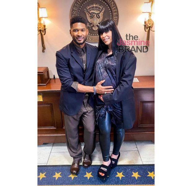 Usher & Pregnant Girlfriend Jenn Goicoechea Attend Juneteenth Bill Signing at White House [Photos]