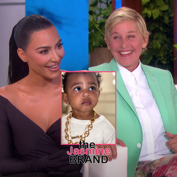Kim Kardashian Hilariously Corrects Ellen DeGeneres After She Assumes Psalm West's Gold Necklace Is Fake: It's Real!