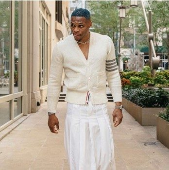 Russell Westbrook Attends New York Fashion Week In A Long White Skirt