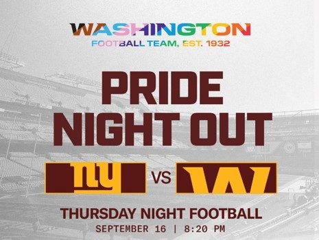 Washington Football Team To Host The NFL's First Pride Night: Football Is For Everyone
